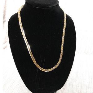 Vintage Silver Gold Braided Chain Unique Clasp